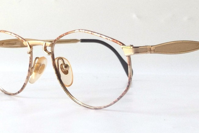 Gold Metal Glasses Frames : vintage 1990s NOS gold oval metal eyeglasses frames mens