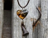 Honey Amber Heart  Pendant  Necklace Yellow Amber Charm Hand Sculpted Stone Bee Jewelry Love Romantic Valentines for her Mother's day Gift