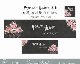 Boho Chalk Editable PSD Premade Banner Set DIY Instant download PNG CliP ArT