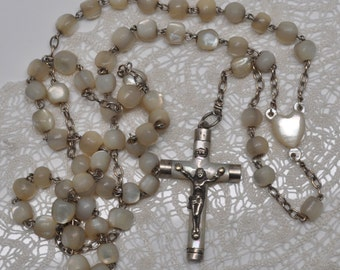 Antique Mother of Pearl Rosary Hand Carved with Heart Shaped Center