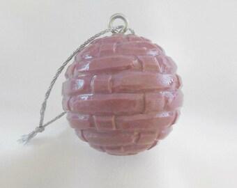 Carved Golf Ball, Christmas Ornament, Unique Golf Gift for Golfer, Purple Christmas Ornament, Hand Carved Ornament