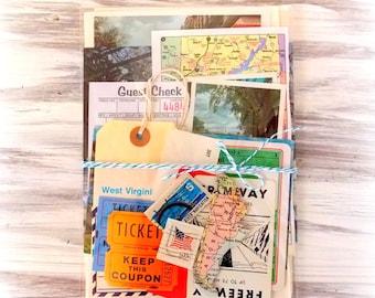 Vintage Travel Ephemera Pack / DIY Kit / 25+ Pieces / Vintage Ephemera / Paper Ephemera / Maps / Journal