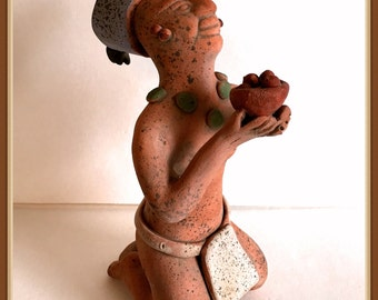 Vintage Mayan Clay Sculpture, Reproduction, Kneeling, Offering, Worship, Hand Molded, Mexico