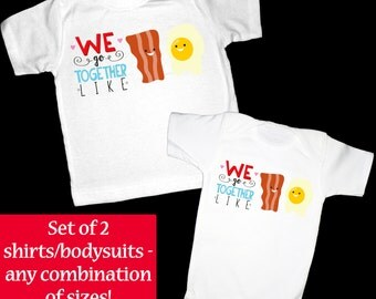Set of 2 We go Together Like Bacon & Eggs Short Sleeve Shirts or Bodysuits - Perfect for Twins, Best Friends, Siblings, Couples