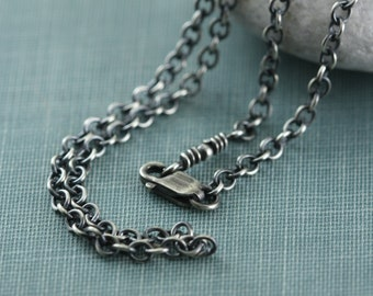Sterling Silver Rustic Necklace Chain For Charms Pendant, All Lengths, Medium Heavy, Antique Finish, Bright, 2.4mm Solid