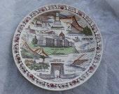 State of Montana Plate Vernon Kilns Colored Brown Transferware Vintage Souvenir