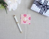Monogram Hexagon Pattern Square Folded Enclosure Cards   Personalize Mini Stationery Note Cards   Set of 25   Modern Geometric   Gift