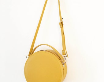 Peggy Circular Faux Leather Structured Box Bag (Handmade to Order)