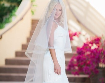 Horsehair Veil, Horse Hair Edge, Drop Veil, Circle Simple Bridal Veil, Wedding Veil, Fingertip Veil, Ivory Bridal Veil, White Veil, Erica