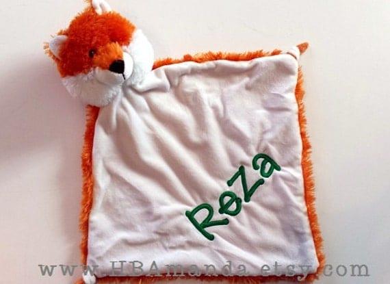 "Orange FOX Minky Lovie Blanket - Baby Fox Monogram Lovey 13"" x 13"""