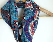 Infinity Scarves - Summer Scarf - Hand made -  Red, Blue and White - Boho Loop Scarf