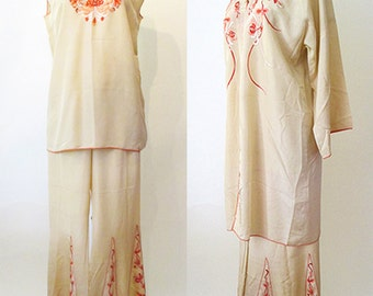 Lovely 1920's Three Piece Hand Embroidered Silk lounging set Old Hollywood Glamor Vintage lingerie boudoir Size Medium