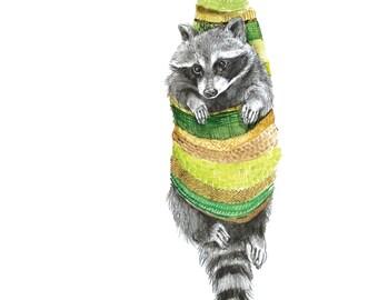Raccoon Cocoon - Digital Archival Print