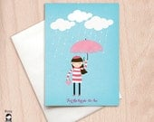 Bride To Be - Girl with a Pink Umbrella - Bridal Shower Greeting Card