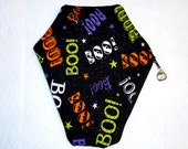 Coffin Makeup Bag - Halloween Zipper Bag - Boo!