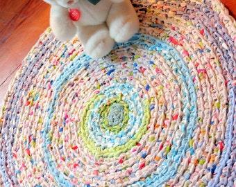 rag rug, baby, baby bedding, crochet rag rug, kumari garden baby, crib bedding, girl crib bedding, crib skirt, nursery bedding #56