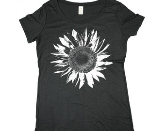 Flower Shirt - Boho Shirt - White Sunflower -  Bamboo - Organic Cotton - In Small, Medium, Large and Extra Large - Clothing