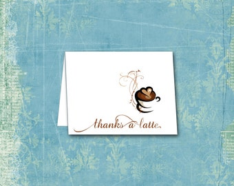 Thanks a Latte Note Cards / Coffee Cappuccino Java Cafe au Lait / Set of 10 / Stationery / Thank You Notecards / Coffee Lover / Cuppa Joe