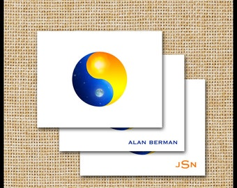 Yin Yang Note Cards / Sun and Moon / Day and Night / Yin Yang Stationery / Blue Gold Orange / Personalized / Stationery Gift / Unisex