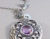 Victorian Sparrow,Lavender,Light Amethyst,Amethyst Locket,Locket,Antique Locket,Silver Locket,Sparrow,Bird Locket,Initial,Hand Stamp,Purple