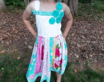 Flower Dress, Twirly Skirt, Patchwork Dress, pink, blue, yellow, red, vintage floral look, party dress, daddy daughter dance. birthday