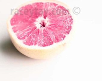 Pink Grapefruit Print, Kitchen Decor, White, Pink, Yellow, Modern, Kitchen Art, Still Life, Food Photography