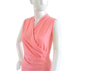 Plus Size Clothing, Wrap Top, Wrap Sleeveless Top, Plus Size Shirt, Womens Pink Top, Plus Size Wrap Top Sleeveless Tank Top Plus Size Blouse