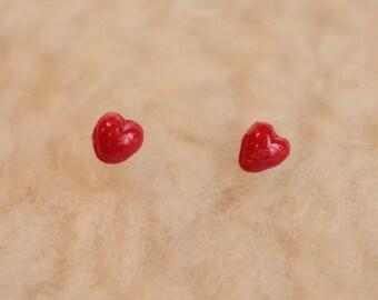 Niobium Post Earrings - Tiny Red Hearts - Hypoallergenic Earrings for Sensitive Ears / Nickel Free Stud Earrings