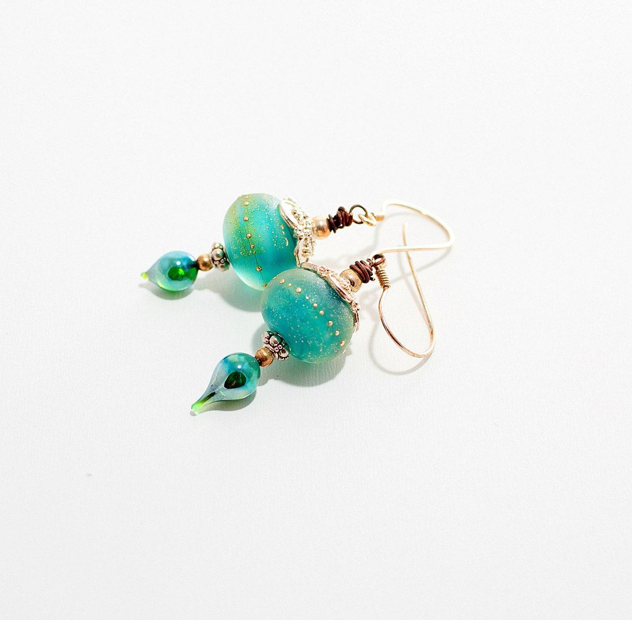sea green glass bead earrings sea salt lwork
