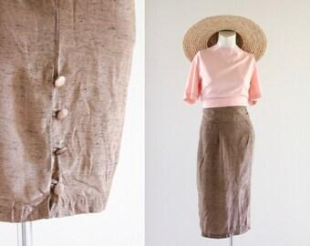 high waist button back skirt / 11