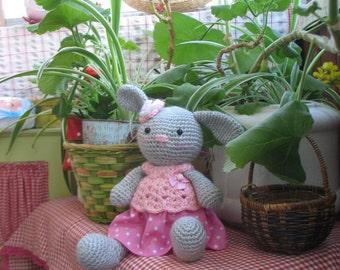 Rose Bunny      Most adorable  Handmade crochet amigurumi bunny doll