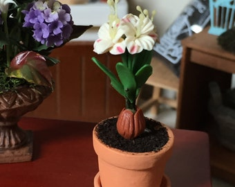 Miniature White Lily, Lily in Clay Pot With Removable Saucer, Dollhouse Miniature, 1:12 Scale, Dollhouse Flowers, Home & Garden Decor