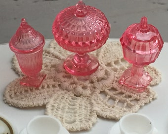 Candy Dish Set, Dollhouse Miniatures, 1:12 Scale, Dollhouse Accessories, Decor, Pink Dishes, Miniature Dishes