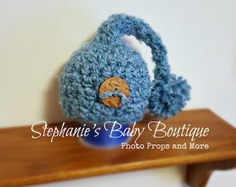 Ready to Ship, Crochet Newborn Baby Boy Blue Stocking Cap, Photo Prop, Shower Gift, Beanie, Hat, Elf, Photography, Pom pom