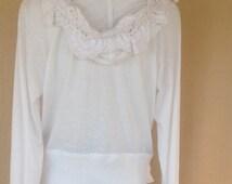 New white hoodie repurposed crochet women's clothing repurposed hoodie
