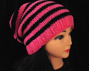 Pink and Black Striped Slouchy Beanie Knitted Hat