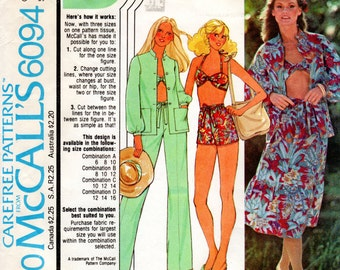 1970s Halter Top Playsuit & Summer Separates - Vintage Pattern McCall's 6094 - Bust 32 34 36 Pants Skirt Blouse Shorts