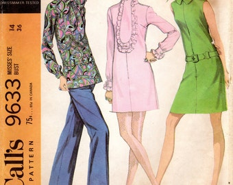 1960s Dress with Long Tie Collar & Pants - Vintage Pattern McCall's 9633 - Bust 36