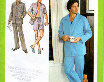 1970s Mens Pajamas Pattern - Vintage Simplicity 9125 - Size XLarge 46 48