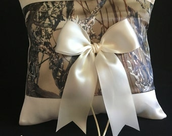 White or Ivory Camo Wedding Ring Bearer Pillow Timber Woodland