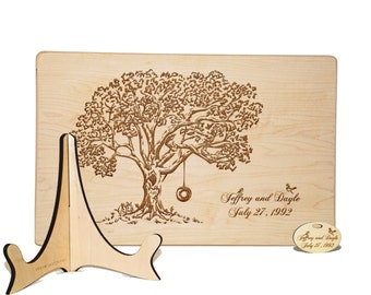 Engraved cutting board with stand and tag, Carved tree with tire swing, wood cutting board, Custom wedding gift Housewarming 5th anniversary