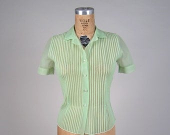 1950s sheer lime green blouse • vintage 50s blouse • basic office top