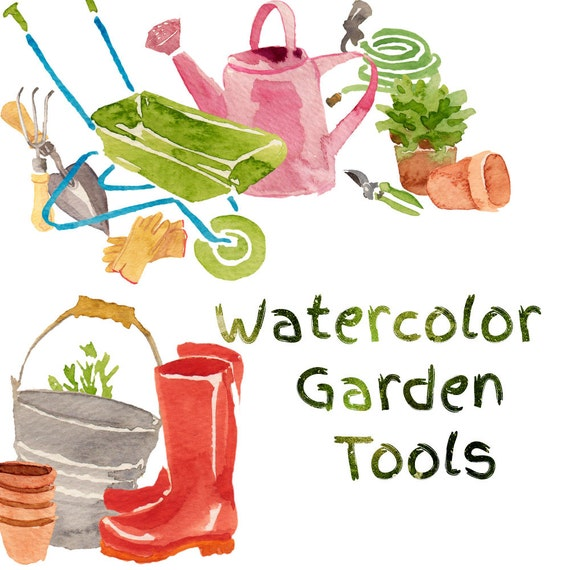 Watercolor garden tools gardening clip art tools clipart for Gardening tools you must have