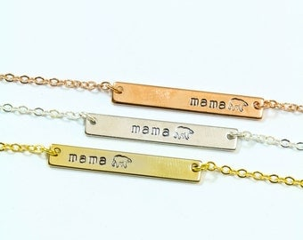 Mama Bear Necklace • Gift For Mom • Grandma Gift • Horizontal Silver Bar Necklace • Personalized ...
