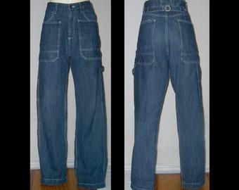 1970s Hariya Japanese dark blue denim buckleback jeans - 33.5 x 30.5 ~ cargo carpenter straight leg pants topstitched ~ pure cotton