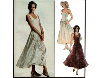 Style 1558 Drop Waisted Dress 80s Vintage Sewing Pattern Size 12 Bust 34 inches UNCUT Factory Folded