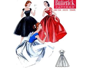 "STUNNING 50s Shelf Bust Evening Wedding Dress Pattern Butterick 7452 Full Skirt Bombshell Pinup Gown Vintage Sewing Pattern size 16 Bust 34"""