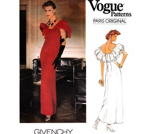 80s GIVENCHY Prom Gown Maxi Evening Formal Dress Pattern Vogue Paris Original 1374 Vintage Sewing Pattern Bust 32 1/2 UNCUT Factory Folded
