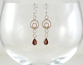 Sterling Garnet Earrings Garnet Gemstone Earrings Sterling Silver Earrings Garnet Silver Earrings Silver Gemstone Earrings Garnet Drops