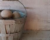 Vintage Small wood Slatted basket. Rustic Shabby farmhouse decor. Robin Egg Blue Shabby painted basket. Easter Basket